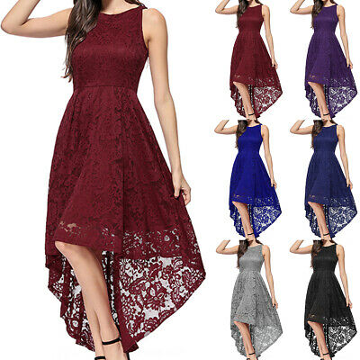 Womens Lace Sleeveless Wedding Bridesmaid Evening Party Ball Prom High Low Dress • 14.24£