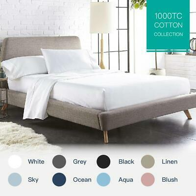 AU55 • Buy 100% Cotton 1000TC Single/KS/Double/Queen/King Fitted Flat Sheet Pillowcase Set