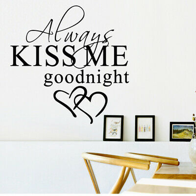 Removable Wall Stickers Always Kiss Me Goodnight Love Quote Bedroom Decals Art • 3.59£
