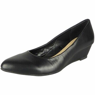 Ladies Black Big Sizes Comfy Womens Wedge Court Pumps Work Office School Shoes • 9.95£