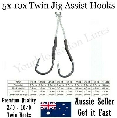 AU14.95 • Buy Twin Assist Hooks Jig Jigging Metal Fishing Lures Inchiku Octo 2/0 4/0 6/0 8/0