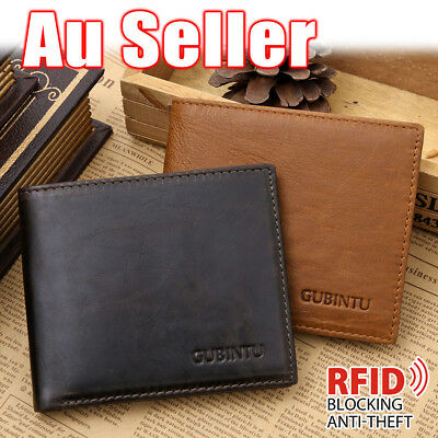 AU5.79 • Buy Genuine Leather Mens Purse Bifold Credit Card Wallet RFID Blocking Anti Scan OZ