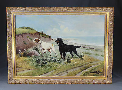 Norfolk Oil Painting Shooting Hunting Interest Setter Pointer Dogs Signed • 385£
