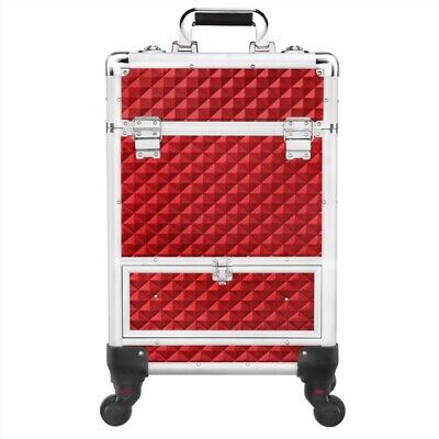 $76.99 • Buy Aluminum Cosmetic Case Rolling Large Professional Trolley Makeup Train Case