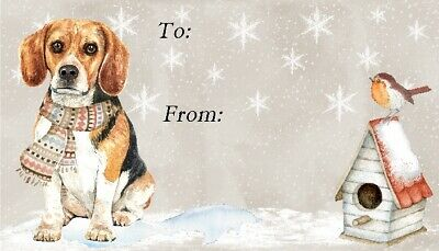 Beagle Dog Christmas Gift Labels (Set Of 42) By Starprint - Design No.5 • 3.15£