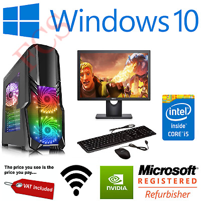 Fast Gaming PC Computer Bundle Monitor I5 Quad Core 8GB 1TB Win 10 2GB GT710 WOW • 188.99£