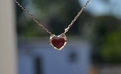 Sterling Silver 925 Rose Gold Plated Red Heart Pendant Necklace 16-18  Chain • 6.99£