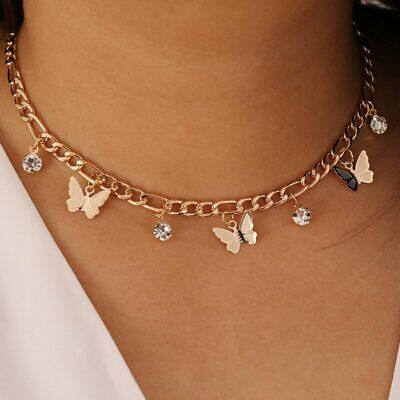 $2.47 • Buy Crystal Drop Gold Butterfly Choker Pendant Necklace Clavicle Chain Women Gift