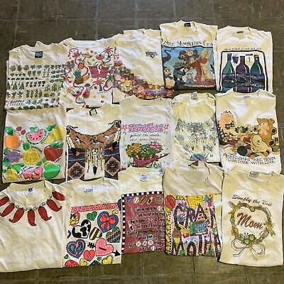 $ CDN169.71 • Buy Vintage Wholesale T Shirt 15 Lot Graphic 90s 00s Bundle Cute Random Misc