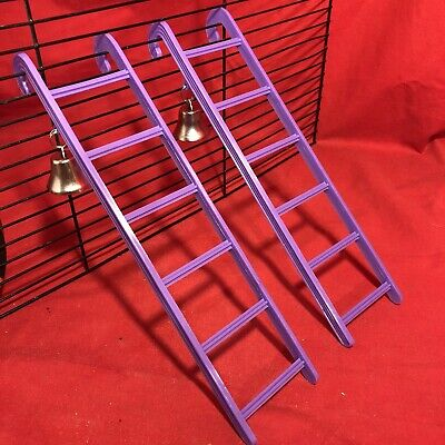 2 Hamster Ladder Bell Plastic 9  Purple Interactive Cage Boredom Exerciser Mouse • 6.99£