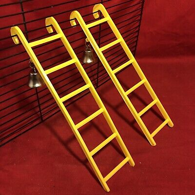 2 Hamster Ladder Bell Plastic 9  Yellow Interactive Cage Boredom Exerciser Mouse • 6.99£