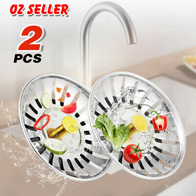 AU7.88 • Buy 2X High Quality Stainless Steel Kitchen Waste Sink Drain Strainer Plug Stopper