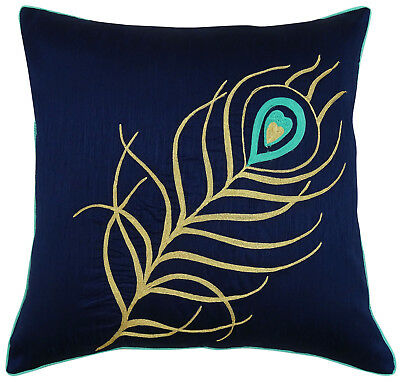 Peacock Feather Embroidered Cushion Cover Blue Square Poly Dupion Pillow Case • 9.50£