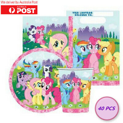 AU10.79 • Buy My Little Pony Party Pack Tableware Supplies Decorations Loot Bag Unicorn 40 PCS