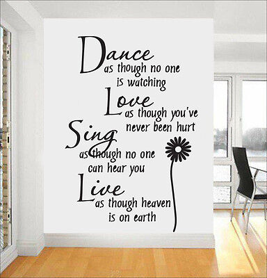 £3.39 • Buy Adhesive Removable Dance Love Sing Live Quote Wall Sticker Decal Home Wall Decor