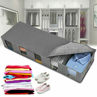 Large Capacity Under Bed Storage Bag Box 5 Compartments Clothes Shoes Organizer • 7.79£