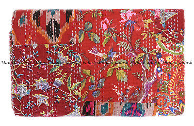 Indian Red Patchwork Handmade Kantha Quilt Bohemian King Bedspread Blanket Throw • 44.99£