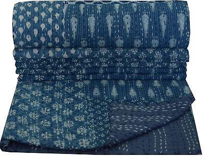 Indigo Handmade Kantha King Size Quilt Indian Patchwork Blanket Bedspread Throw • 44.99£