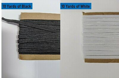 $ CDN15 • Buy 20yd Braided Elastic(6mm, 1/4inch, Black+white) For DIY Mask (In Stock @ Canada)