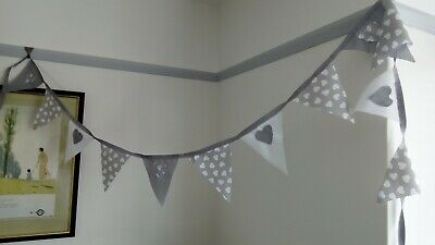 £7.85 • Buy  BUNTING GREY  White HEART SHABBY CHIC PARTY 2 METRES CELEBRATION HAND MADE