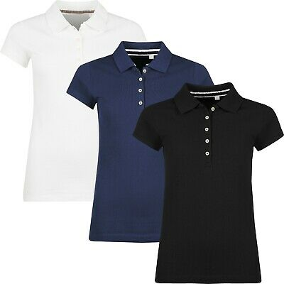 New Womens Polo Shirts Short Sleeve Ladies Plain Summer Pique Cotton T Shirt Top • 6.99£