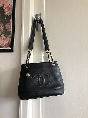 AU1650 • Buy Vintage Chanel Women's Caviar Leather Tote Bag Black Shoulder CC Chain