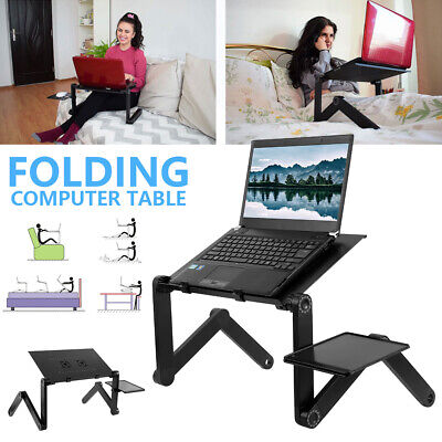 AU22.99 • Buy Portable Foldable Laptop Stand Desk Table Tray Adjustable + Mouse Pad + USB Fan