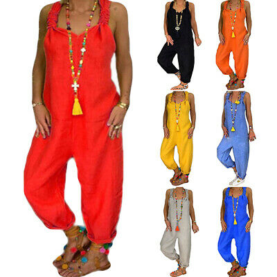 Plus Size Women Baggy Loose Playsuit Jumpsuit Summer Dungarees Casual Overalls • 15.85£