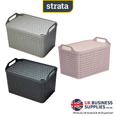 Strata NEW!  ECO Baskets & Lids Stackable 2 Colours With Handles Medium & Large • 11.99£