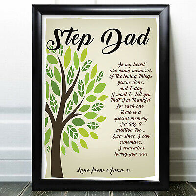 £5.99 • Buy Fathers Day Gift StepDad Poem Personalised Gifts Card From Daughter Son Father