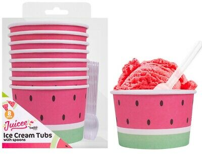 Pack Of 8 Watermelon Paper Ice Cream Tubs Sweet Treat Pudding Bowls With Spoons • 4.49£