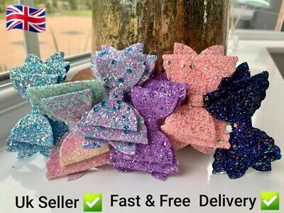 £2.95 • Buy Sparkly Hair Bow/ Clips  Girls  Baby Bows 3.5  Glitter Chunky Triple Layer✅