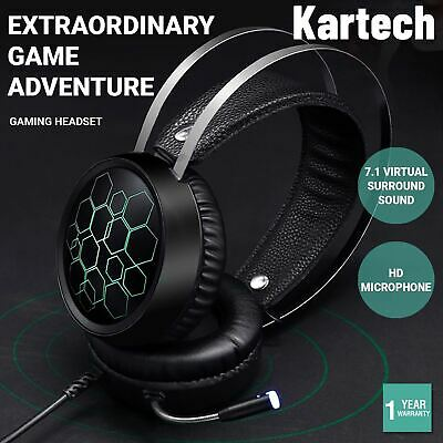AU29.90 • Buy Kartech Gaming Headset Wired Game LED Light Headphones Microphone Noise Cancel
