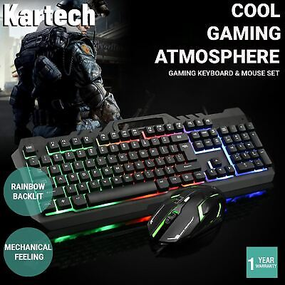 AU29.90 • Buy Kartech Gaming Keyboard & Mouse Set Wired Mechanical Feeling Rainbow LED Backlit