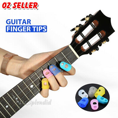 AU5.85 • Buy 4 Sizes Silicone Guitar Piano Ukulele Fingertip Protectors Finger Free Picks AU