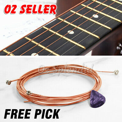 AU5.95 • Buy Acoustic Music Guitar Strings Steel Premium Light Universal 6 Pcs Sent Free Pick