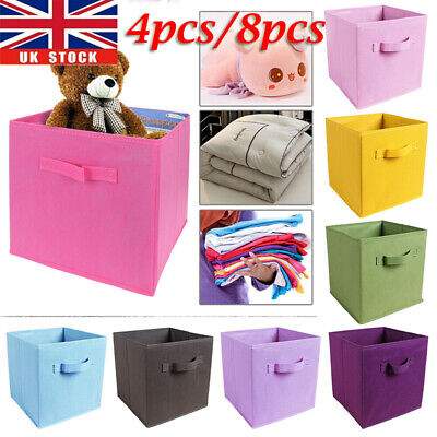 4pcs/8pcs Foldable Canvas Storage Collapsible Box Fabric Cube Cloth Basket Bags • 8.55£