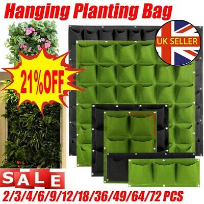 2/72 Pocket Vertical Garden Planter Wall Hanging Bag Garden Planting Bags Herbs • 10.59£