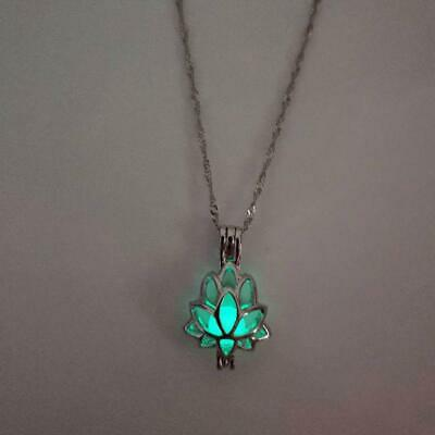 $ CDN3.54 • Buy Luminous Glow In The Dark Lotus Flower Shaped Pendant Necklace Charm Gifts S3