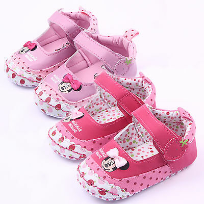 Newborn Baby Girl Faux Leather Minnie Mouse Pre-Walker Sole Pram Shoes Trainers • 5.86£