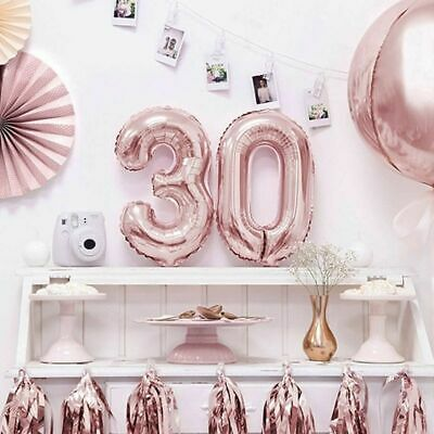 AU5.69 • Buy 36/66/86cm Rose Gold Foil Number Balloon Birthday Party Decorations Balloons