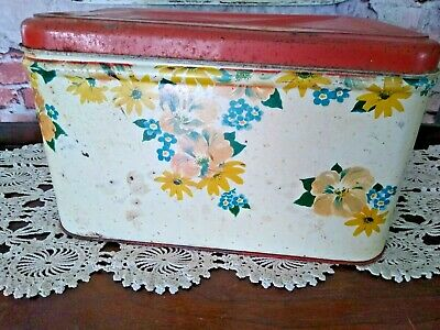 $30 • Buy Vintage Red & White Tin Bread Box With Flowers.. ***great Patina***