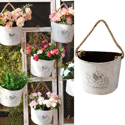 Garden Iron Flower Pots Wall Hanging Tin Basket Plant Herb Planter Home Decor  • 8.59£