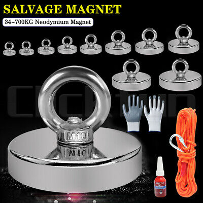 AU12.59 • Buy Magnet 34-700Kg Salvage Recovery Neodymium Strong Hook Fishing Treasure Hunting