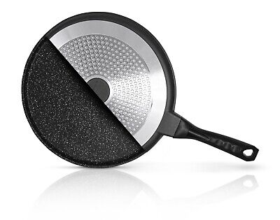 Tawa/ Crepe / Pancake Pan Induction Gas Electric Marble Coated 25cm Heavy Duty • 18.99£