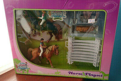Kids Globe Horse Playset 2x Horses & Riders With Accessories Fencing Horse Toys • 17.99£