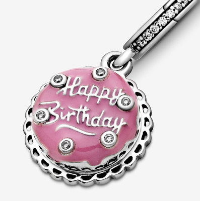 NEW Authentic Sterling Silver 925 Happy Birthday Cake Tart Charm + Pandora Pouch • 16.98£