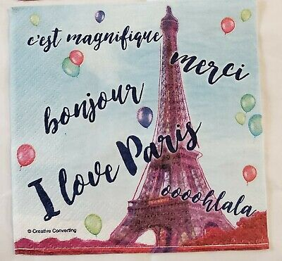 £1.30 • Buy TWO(2) Paper Napkins Decoupage, Tissue, Paper Craft, Paris, Eiffel Tower, French