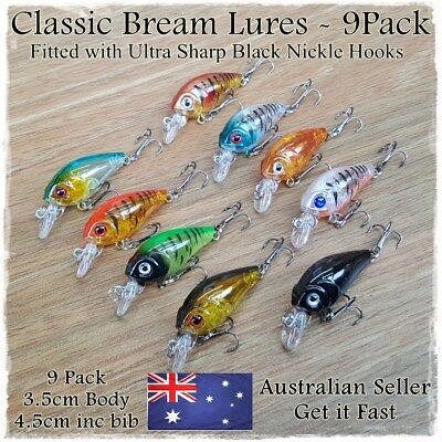 AU12.95 • Buy 9 Fishing Lures Bream Bass Trout Redfin Perch Cod Flathead Whiting Tackle 4.5cm