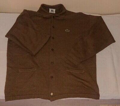 Lacoste Brown Cardigan Size 7 - 24  P2P - Brown Wool • 38.95£